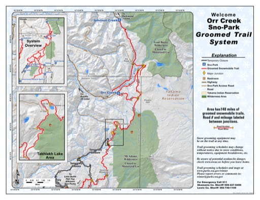 Map of Orr Creek Sno-Park Groomed Trail System. Published by Washington State Parks (WASP).