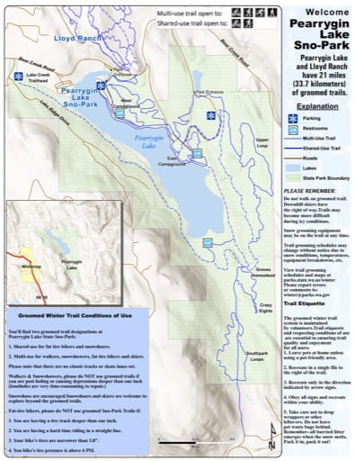 Map of Pearrygin Lake Sno-Park Groomed Trail System. Published by Washington State Parks (WASP).