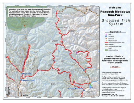Map of Peacock Meadows Sno-Park Groomed Trail System. Published by Washington State Parks (WASP).