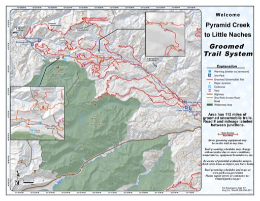 Map of the Groomed Trail System from Pyramid Creek Sno-Park to Little Naches Sno-Park. Published by Washington State Parks (WASP).
