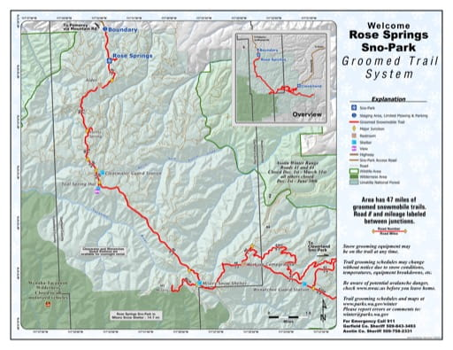 Map of Rose Springs Sno-Park Groomed Trail System. Published by Washington State Parks (WASP).