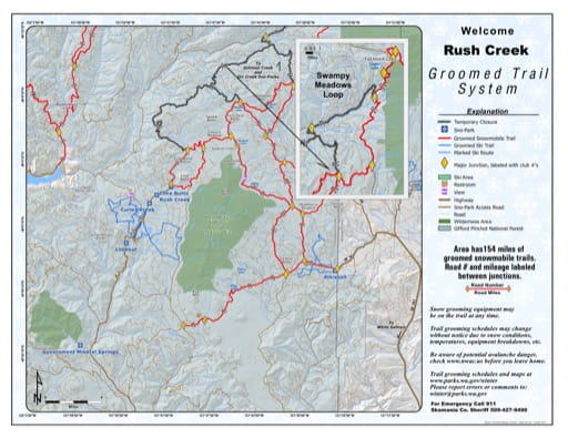 Map of Rush Creek Sno-Park Groomed Trail System. Published by Washington State Parks (WASP).