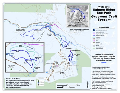 Map of Salmon Ridge Sno-Park Groomed Trail System. Published by Washington State Parks (WASP).
