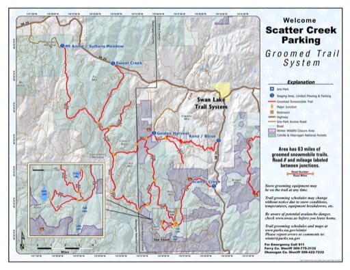 Map of Scatter Creek Sno-Park Groomed Trail System. Published by Washington State Parks (WASP).