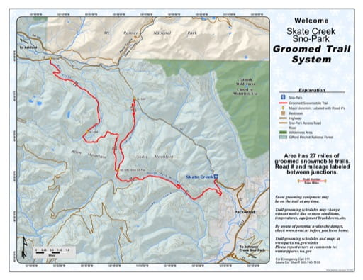 Map of Skate Creek Sno-Park Groomed Trail System. Published by Washington State Parks (WASP).