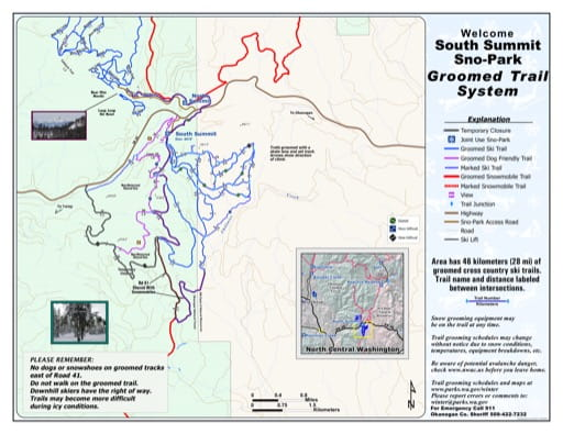 Map of South Summit Sno-Park Groomed Trail System. Published by Washington State Parks (WASP).