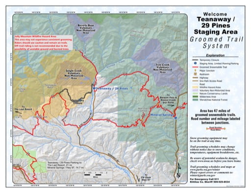 Map of Teanaway / 29 Pines Sno-Park Groomed Trail System. Published by Washington State Parks (WASP).