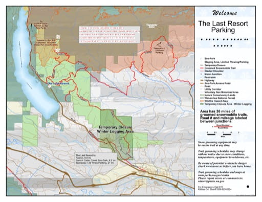 Map of The Last Resort Sno-Park Groomed Trail System. Published by Washington State Parks (WASP).