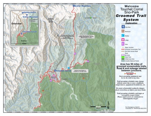 Map of Touchet Corral Sno-Park Groomed Trail System. Published by Washington State Parks (WASP).