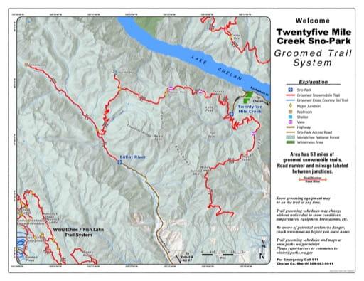 Map of Twentyfive Mile Creek (25 Mile Creek) Sno-Park Groomed Trail System. Published by Washington State Parks (WASP).