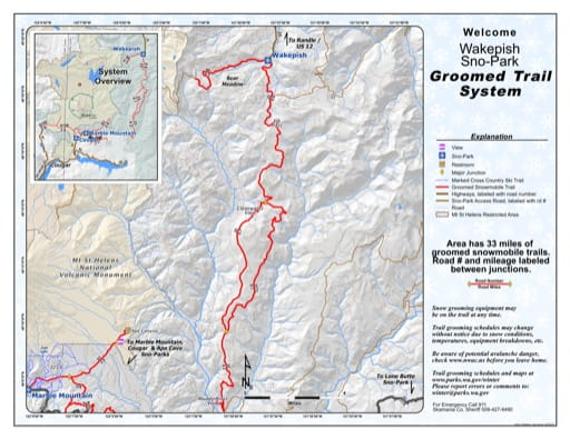 Map of Wakepish Sno-Park Groomed Trail System. Published by Washington State Parks (WASP).