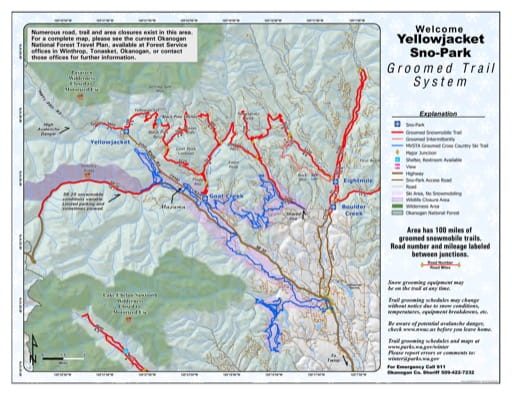 Map of Yellowjacket Sno-Park Groomed Trail System. Published by Washington State Parks (WASP).