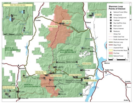 Map with Points of Interests at Sherman Loop in Colville National Forest (NF) in Washington. Published by the U.S. Forest Service (USFS).