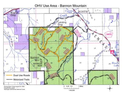 Map of Bannon Mountain Off-Highway Vehilce (OHV) Trails in Tonasket Ranger District (RD) in Colville National Forest (NF) in Washington. Published by the U.S. Forest Service (USFS).