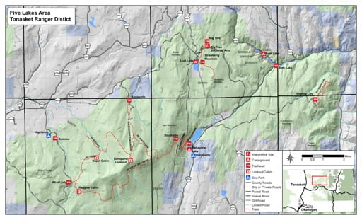 Recreation Map of Fives Lakes area in Tonasket Ranger District (RD) in Colville National Forest (NF) in Washington. Published by the U.S. Forest Service (USFS).