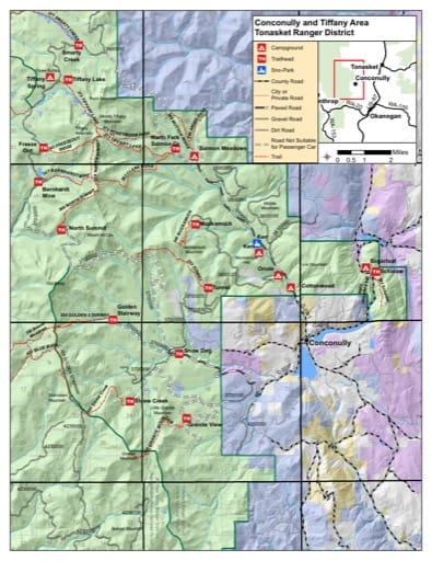 Recreation Map of Conconully and Tiffany Area areas in Tonasket Ranger District (RD) in Colville National Forest (NF) in Washington. Published by the U.S. Forest Service (USFS).