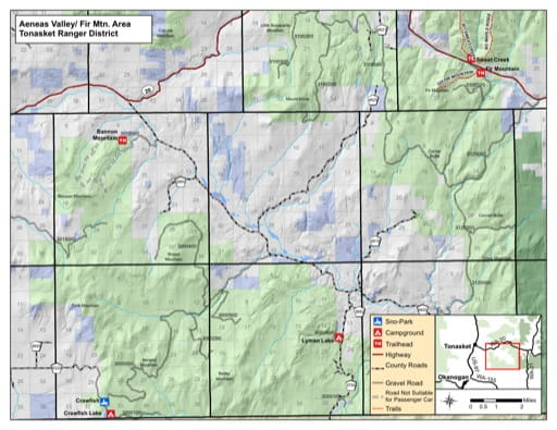 Recreation Map of Aeneas Valley / Fir Mountain area in Tonasket Ranger District (RD) in Colville National Forest (NF) in Washington. Published by the U.S. Forest Service (USFS).