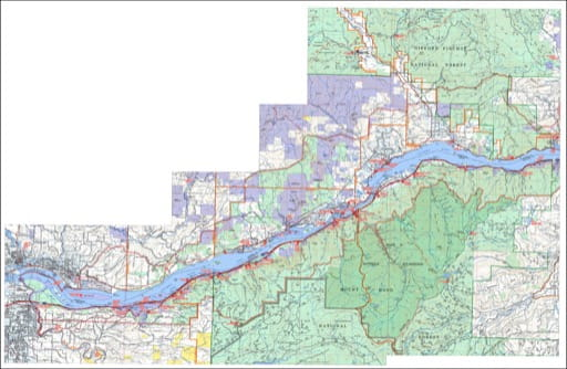 Recreation map of the Western Area of Columbia River Gorge National Scenic Area (NSA). Published by the U.S. Forest Service (USFS).