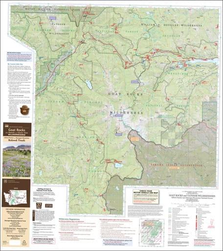 Visitor map of Goat Rocks Wilderness, Tatoosh Wilderness, Glacier View Wilderness in Gifford Pinchot National Forest (NF) and Okanogan-Wenatchee National Forest (NF). Published by the U.S. Forest Service (USFS).