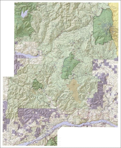 Recreation map of Mount Adams Wilderness, Indian Heaven Wilderness, Trapper Creek Wilderness in Gifford Pinchot National Forest (NF). Published by the U.S. Forest Service (USFS).