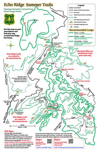 Map of Echo Ridge Summer Trails in Okanogan-Wenatchee National Forest (NF). Published by the U.S. Forest Service (USFS).