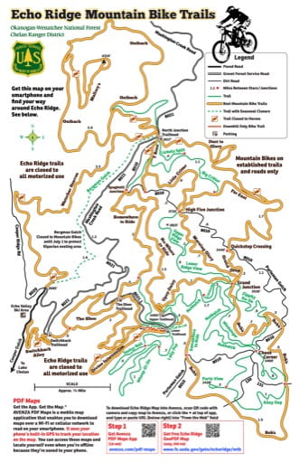 Map of Echo Ridge Mountain Bike Trails in Okanogan-Wenatchee National Forest (NF). Published by the U.S. Forest Service (USFS).