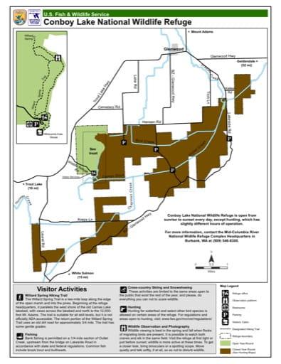 Visitor Map of Conboy Lake National Wildlife Refuge (NWR) in Washington. Published by the U.S. Fish & Wildlife Service (USFWS).