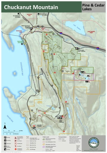 Map of the Trail System in Chuckanut Mountain Park. Published by Whatcom County Parks & Recreation