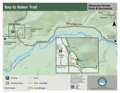 Map of Bay to Baker Trail. Published by Whatcom County Parks & Recreation