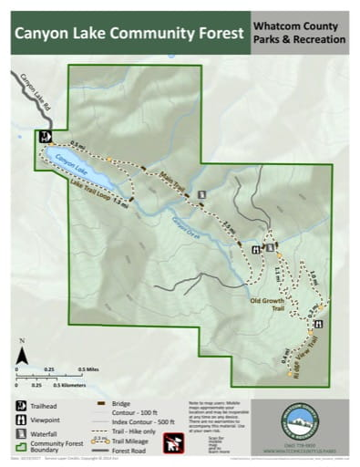 Map of Canyon Lake Community Forest trails. Published by Whatcom County Parks & Recreation
