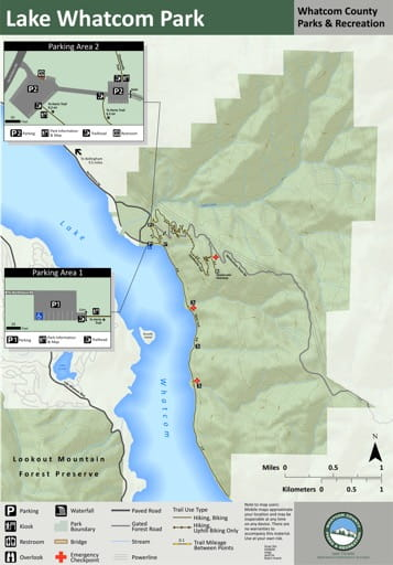 Map of Lake Whatcom Park trails. Published by Whatcom County Parks & Recreation