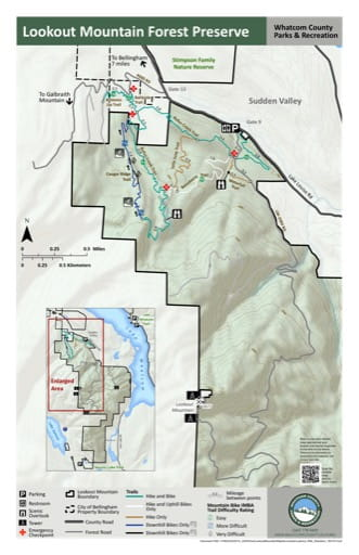 Map of Lookout Mountain Forest Preserve trails. Published by Whatcom County Parks & Recreation