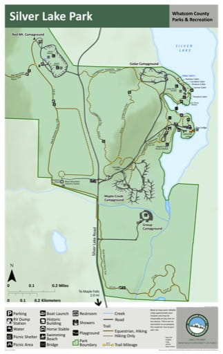 Map of Silver Lake Park trails. Published by Whatcom County Parks & Recreation