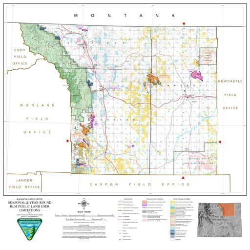 Map of Seasonal and Year-Round BLM Public Land User Limitations in the BLM Buffalo Field Office area in Wyoming. Published by the Bureau of Land Management (BLM).