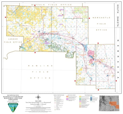 Map of Seasonal and Year-Round BLM Public Land User Limitations in the BLM Casper Field Office area in Wyoming. Published by the Bureau of Land Management (BLM).