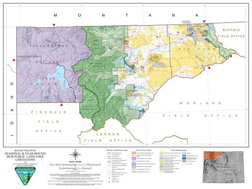 Map of Seasonal and Year-Round BLM Public Land User Limitations in the BLM Cody Field Office area in Wyoming. Published by the Bureau of Land Management (BLM).