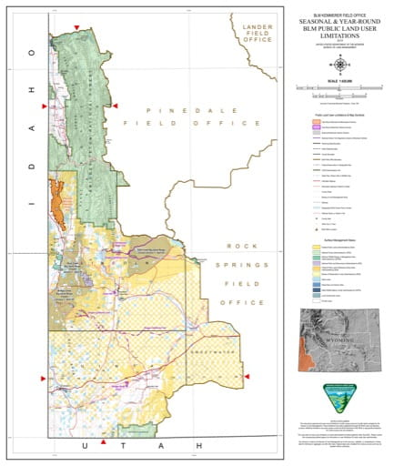 Map of Seasonal and Year-Round BLM Public Land User Limitations in the BLM Kemmerer Field Office area in Wyoming. Published by the Bureau of Land Management (BLM).