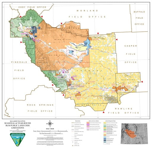 Map of Seasonal and Year-Round BLM Public Land User Limitations in the BLM Lander Field Office area in Wyoming. Published by the Bureau of Land Management (BLM).