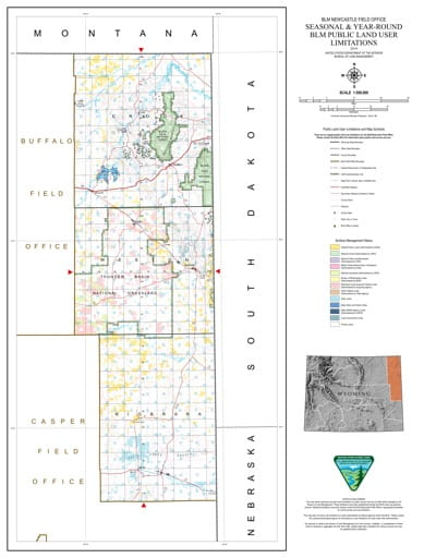 Map of Seasonal and Year-Round BLM Public Land User Limitations in the BLM Newcastle Field Office area in Wyoming. Published by the Bureau of Land Management (BLM).