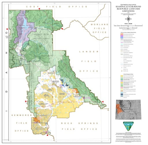 Map of Seasonal and Year-Round BLM Public Land User Limitations in the BLM Pinedale Field Office area in Wyoming. Published by the Bureau of Land Management (BLM).