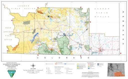 Map of Seasonal and Year-Round BLM Public Land User Limitations in the BLM Rawlins Field Office area in Wyoming. Published by the Bureau of Land Management (BLM).