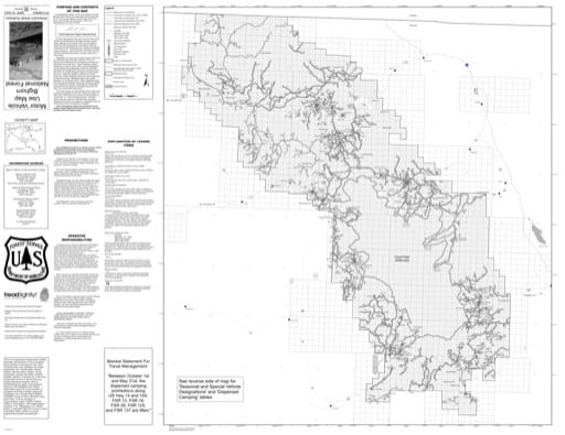 Motor Vehicle Use Map (MVUM) of Bighorn National Forest (NF) in Wyoming. Published by the U.S. Forest Service (USFS).