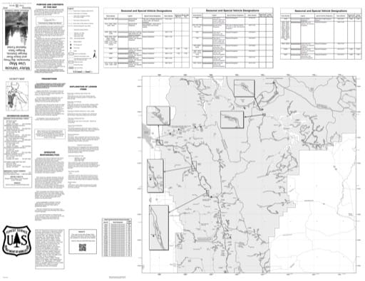 Motor Vehicle Use Map (MVUM) of Big Piney and Greys River Ranger Districts in Bridger-Teton National Forest (NF) in Wyoming published by the U.S. Forest Service (USFS).