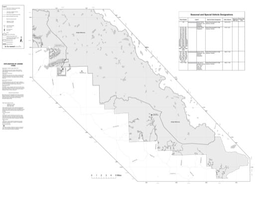 Motor Vehicle Use Map (MVUM) of the southern area of Pinedale Ranger District in Bridger-Teton National Forest (NF) in Wyoming. Published by the U.S. Forest Service (USFS).