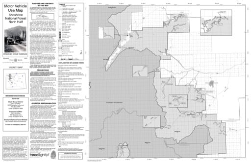 Motor Vehicle Use Map (MVUM) of the North Zone (side 1) of Shoshone National Forest (NF) in Wyoming. Published by the U.S. Forest Service (USFS).