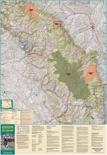 Map of Bighorn Off-Road Vehicle Trails (ORV) in Wyoming. Published by Wyoming State Parks, Historic Sites, & Trails (WYSP).