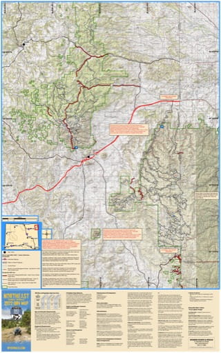 Northeast Map showing Blackhills Off-Road Vehicle Trails (ORV) in Wyoming. Published by Wyoming State Parks, Historic Sites, & Trails (WYSP).