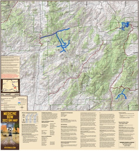 Map of Laramie Range Off-Road Vehicle Trails (ORV) in Medicine Bow-Routt National Forest (NF) in Wyoming. Published by Wyoming State Parks, Historic Sites, & Trails (WYSP).