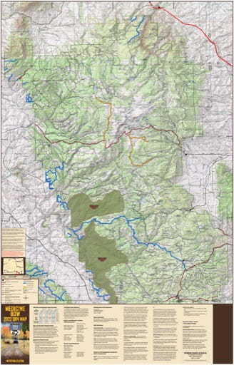 Map of Snowy Range Off-Road Vehicle Trails (ORV) in Medicine Bow-Routt National Forest (NF) in Wyoming. Published by Wyoming State Parks, Historic Sites, & Trails (WYSP).