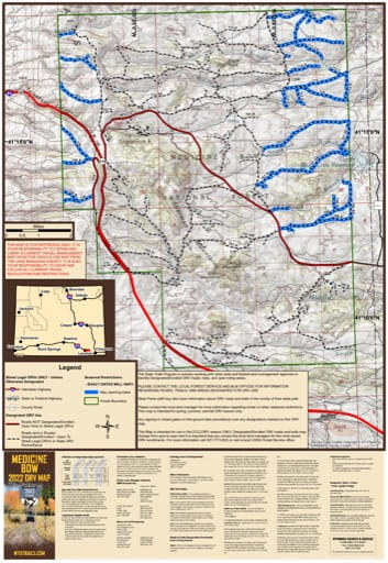 Map of Pole Mountain Off-Road Vehicle Trails (ORV) in Medicine Bow-Routt National Forest (NF) in Wyoming. Published by Wyoming State Parks, Historic Sites, & Trails (WYSP).